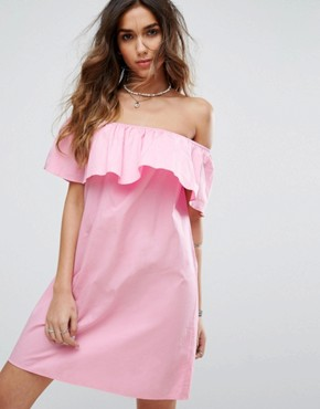 photo Bardot Ruffle Summer Dress by Pimkie, color Pink - Image 1