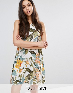 photo Tropical Garden Swing Dress by Warehouse, color Cream - Image 1