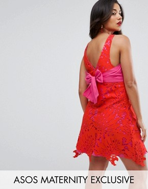 photo Lace Overlay Dress by ASOS Maternity, color Bright Red - Image 1