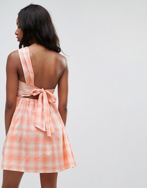 photo Beach One Shoulder Dress in Gingham by ASOS, color Pink Gingham - Image 2