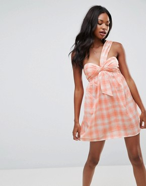 photo Beach One Shoulder Dress in Gingham by ASOS, color Pink Gingham - Image 1