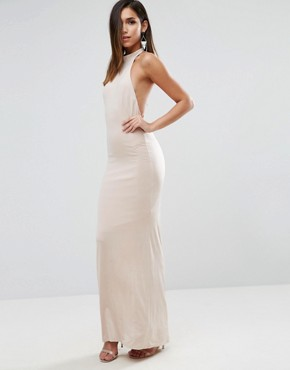 photo Slinky Halter Embellished Ruched Back Maxi Dress by ASOS, color Champagne - Image 2