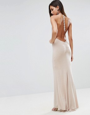 photo Slinky Halter Embellished Ruched Back Maxi Dress by ASOS, color Champagne - Image 1