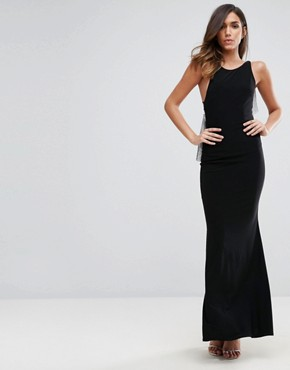 photo Chainmail Asymmetric Back Maxi Dress by ASOS, color Black - Image 2
