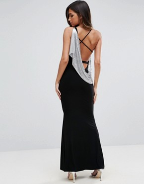 photo Chainmail Asymmetric Back Maxi Dress by ASOS, color Black - Image 1
