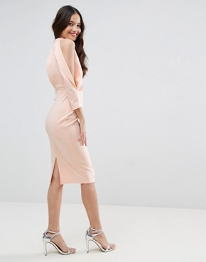 photo Scuba Trim Blouson Split Sleeve Midi Dress by ASOS, color Nude - Image 2