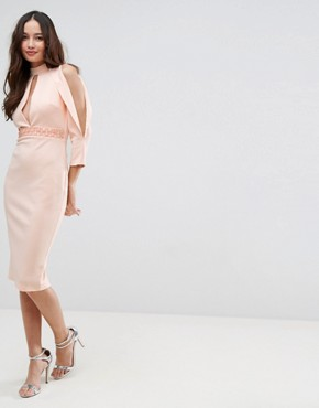 photo Scuba Trim Blouson Split Sleeve Midi Dress by ASOS, color Nude - Image 1