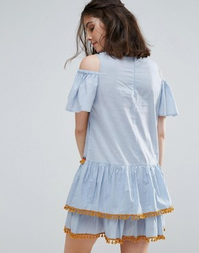 photo Cold Shoulder Mini Dress with Pom Pom Tassel Trim by Glamorous Petite, color Blue - Image 2