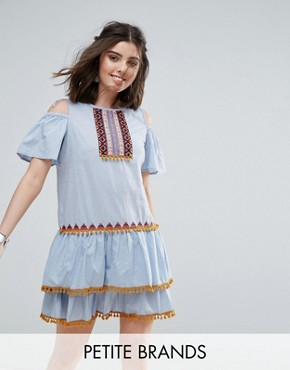 photo Cold Shoulder Mini Dress with Pom Pom Tassel Trim by Glamorous Petite, color Blue - Image 1