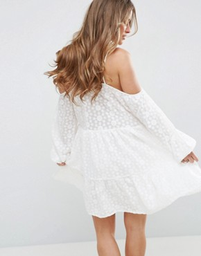 photo All Over Lace Cold Shoulder Skater Dress by Glamorous Petite, color White - Image 2