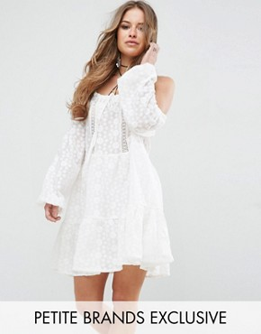 photo All Over Lace Cold Shoulder Skater Dress by Glamorous Petite, color White - Image 1