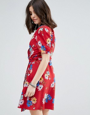 photo All Over Floral Wrap Front Tea Dress by Glamorous Petite, color Multi - Image 2