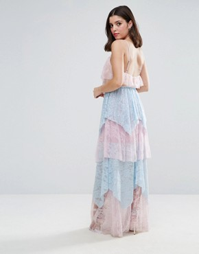photo Allover Premium Lace Tiered Maxi Dress by True Decadence Petite, color Pastel Multi - Image 2