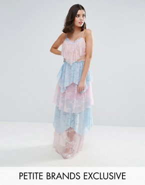 photo Allover Premium Lace Tiered Maxi Dress by True Decadence Petite, color Pastel Multi - Image 1