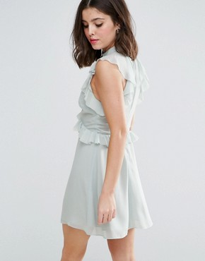 photo Ruffle Shoulder Mini Skater Dress by True Decadence Petite, color Dusty Mint - Image 2