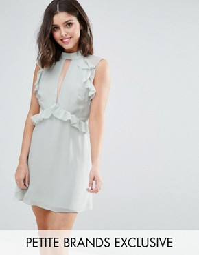 photo Ruffle Shoulder Mini Skater Dress by True Decadence Petite, color Dusty Mint - Image 1