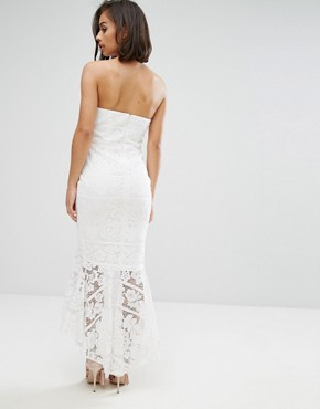 photo Allover Lace Bandeau Midi Dress with Highlow Fishtail by Jarlo Petite, color White - Image 2
