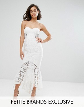 photo Allover Lace Bandeau Midi Dress with Highlow Fishtail by Jarlo Petite, color White - Image 1