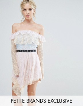 photo Allover Premium Lace Off Shoulder Tiered Mini Dress with Metal Belt by True Decadence Petite, color Pastel Multi - Image 1
