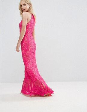 photo Allover Lace High Neck Maxi Dress by Jarlo Petite, color Fuchsia - Image 2