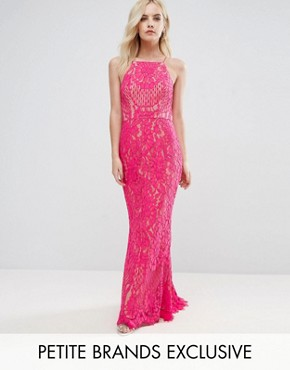 photo Allover Lace High Neck Maxi Dress by Jarlo Petite, color Fuchsia - Image 1
