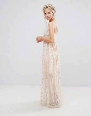 photo Wrap Front Frill Maxi Dress in Metallic Star Print by True Decadence Petite, color Nude - Image 2