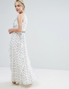 photo Allover Floral Maxi Dress with Metal Belt Detail in Ditsy Floral Print by True Decadence Petite, color White Ditsy Floral - Image 2