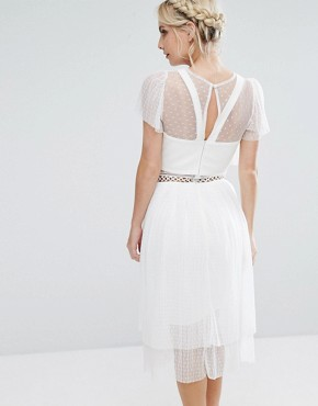 photo Tulle Ruffle Midi Dress with Metal Ring Detail by True Decadence Petite, color White - Image 2