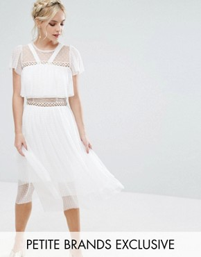 photo Tulle Ruffle Midi Dress with Metal Ring Detail by True Decadence Petite, color White - Image 1