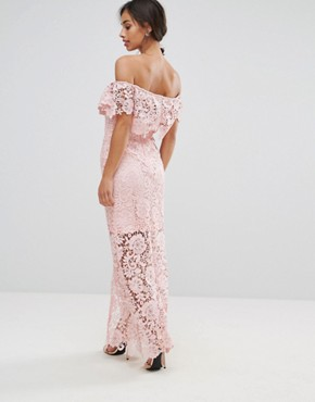 photo Bardot Lace Maxi Dress with Frill Detail by Paper Dolls Petite, color Nude - Image 2