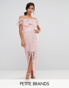 photo Bardot Lace Maxi Dress with Frill Detail by Paper Dolls Petite, color Nude - Image 1