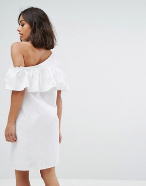 photo One Shoulder Ruffle Dress by Noisy May Petite, color White - Image 2