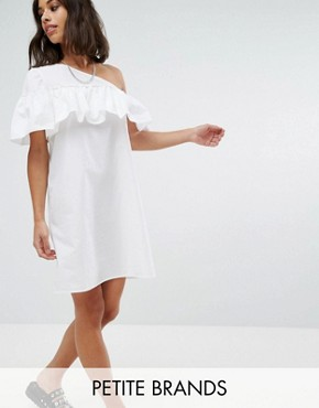 photo One Shoulder Ruffle Dress by Noisy May Petite, color White - Image 1