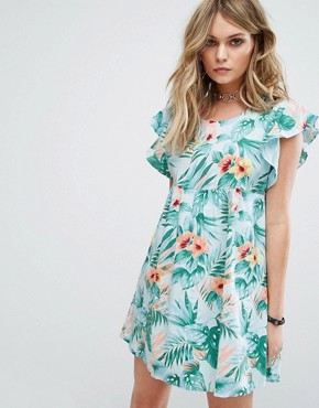 photo Smock Dress in Hawaiian Floral by Motel, color Blue - Image 1