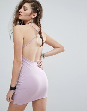 photo Halter Neck Mini Bodycon Dress with Deep V-Frill Lace Up by Motel, color Lilac - Image 2