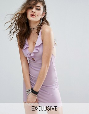 photo Halter Neck Mini Bodycon Dress with Deep V-Frill Lace Up by Motel, color Lilac - Image 1