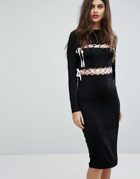 photo Lace Up Dress by Non-Blonde, color Black - Image 1