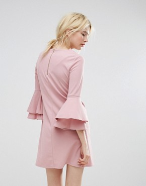 photo Fluted Sleeve Dress by Miss Selfridge, color Pink - Image 2