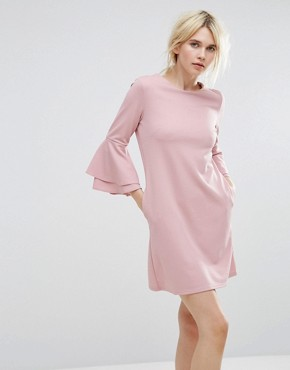photo Fluted Sleeve Dress by Miss Selfridge, color Pink - Image 1