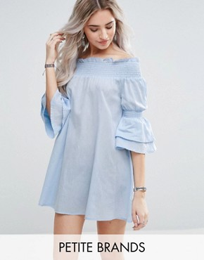 photo Bardot Frill Sleeve Mini Dress by Missguided Petite, color Blue - Image 1