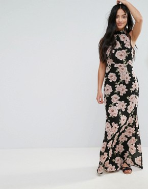 photo Floral Halterneck Maxi Dress by New Look Petite, color Black Pattern - Image 2