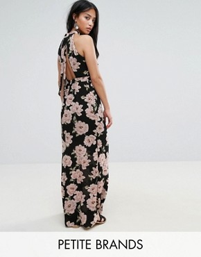 photo Floral Halterneck Maxi Dress by New Look Petite, color Black Pattern - Image 1