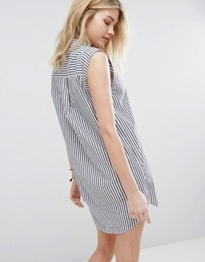 photo Preppy Striped Collarless Dress by Abercrombie & Fitch, color Light Blue - Image 2