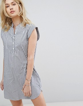 photo Preppy Striped Collarless Dress by Abercrombie & Fitch, color Light Blue - Image 1