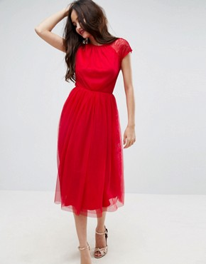 photo Lace Tulle Midi Prom Dress by ASOS PREMIUM, color Bright Red - Image 2