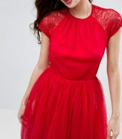photo Lace Tulle Midi Prom Dress by ASOS PREMIUM, color Bright Red - Image 3