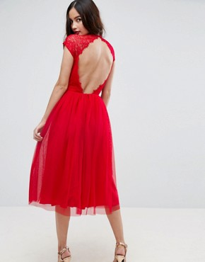 photo Lace Tulle Midi Prom Dress by ASOS PREMIUM, color Bright Red - Image 1