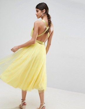 photo Tulle Midi Prom Dress with Ribbon Ties by ASOS PREMIUM, color Lemon Yellow - Image 1