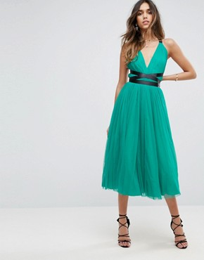 photo Tulle Midi Prom Dress with Ribbon Ties by ASOS PREMIUM, color Emerald Green - Image 2