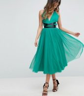 photo Tulle Midi Prom Dress with Ribbon Ties by ASOS PREMIUM, color Emerald Green - Image 4